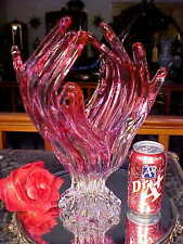 FAB.Hand Made MAUVE PINK 2 CLEAR Glass Vase HAND w OPEN FINGERS Murano Italy!