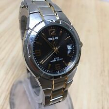 Nice Pulsar Men 100m Black Dial Steel Analog Quartz Watch Hours~Date~New Battery