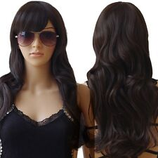 Curly Wigs Heat Resistant Synthetic Hair Full Wig Halloween Costume Dark Brown