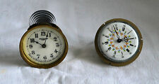 Antique Small Clock Movements with Porcelain Dials Working Condition X 2