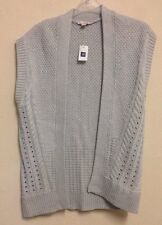 Gap UK Size Small XS/S Light Grey Cotton Sleeveless Medium Knit Cardigan