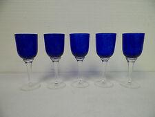 VINTAGE SET OF FIVE (5) COBALT BLUE CRYSTAL WINE GLASSES ETCHED WITH A BUCK DEER