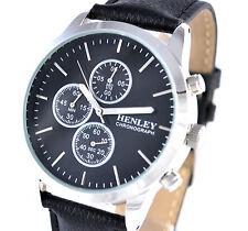 Henley Nero Da Uomo Vera Pelle Chronograph Orologio Cronometro Sport Classic