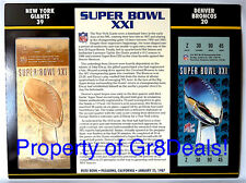 SUPER BOWL 21 ~ GIANTS vs BRONCOS ~ NFL 22 KT GOLD SB XXI TICKET Willabee & Ward