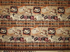 MOCHA COFFEE CUPS DRINKS LATTES BORDER COTTON FABRIC BTHY
