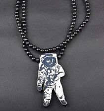 Astronau Hip-Hop Theme Wood  Necklaces Pendant Beads Chain Necklaces Best Gift