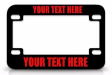 CUSTOM PERSONALIZED (METAL) Black MOTORCYCLE License Plate Frame RED FONT