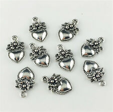 Wholesale 12pcs Tibet silver Love flowers Charm Pendant beaded Jewelry Findings