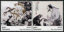 Year of the Monkey se-tenant pair of mnh stamps 2016 Tanzania