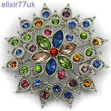 NEW SILVER CRYSTAL FLOWER TOP QUALITY BROOCH WEDDING PARTY SCARF GIFT BROACH UK