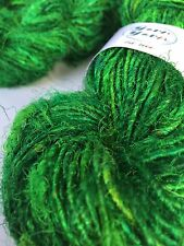 Sari silk yarn, handspun yarn, recycled yarn, knitting, emerald green. 5 yards