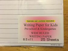 Writing Paper for Kids - Wide Ruled Writing Paper - 11X 8.5 in, 20 lb, 25 sheets