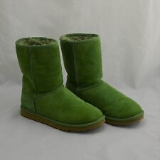 Ugg Australia Green Suede Classic Short Mid-Calf Slip-On Women's Boots Size 6