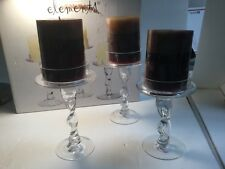 **HUGE SALE!!**NEW!! ELEMENTS SET OF 3 GLASS CANDLE HOLDERS W/TWISTED STEMS