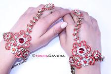 Red gold Hand Slave harness jewellery indian wedding poncha punja panja