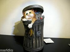 Scrounger Linda Jane Smith Comic & Curious Cat Trash can dustbin piggy coin bank