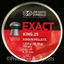 JSB Match Diabolo EXACT KING, .25 cal 25.39gr domed - 150 air gun pellets
