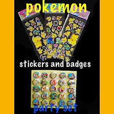 Pokemon Party Badges And Stickers Set Of 10. Pokemon Party/goodie Bag Fillers