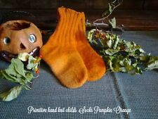 Childs Primitive Vtg Hand Knit Pumpkin Orange Wool Socks Halloween Country Decor