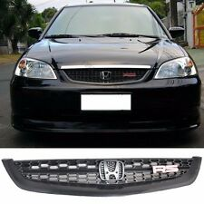 Fit 01-03 Honda Civic Front Hood Bumper Mesh Grille Black RS JDM Style