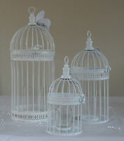 Vintage White Round Metal Bird Cage Tea Light Candle Holder Wedding Centre Piece