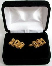 INCREDIBLE 18K YELLOW GOLD RETICULATED WAVE CUFFLINKS