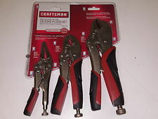Craftsman 3 pc Locking Pliers Set w/ Clamp Rounded Needle Nose Plier Hand Tools