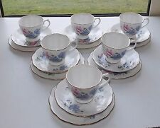 Royal Albert Bone China Friendship Sweet Pea 6 x Trios Cups Saucers Plates