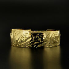 Raven and Sun Solid 14k Yellow Gold Native American Bracelet