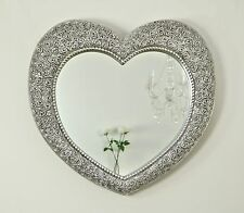 "Rose Heart Antique Silver Shabby Chic Shaped Wall Mirror 33"" x 28"" (84 x 72cm)"