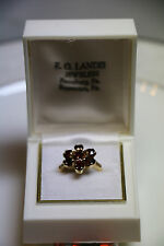 Vintage Solid 10 K Gold Garnet  Cluster 7 Stone Cocktail Ring