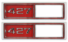 1968 Chevelle Front Marker Light Chrome Bezel 427 Malibu Pair Red El Camino