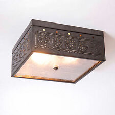Irvin Country Tinware Square Ceiling Light W/ Chisel Kettle Black NEW FREE SHIP