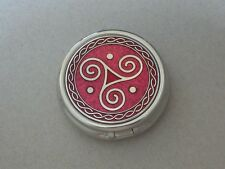 Enameled Celtic Spiral Trinity Pill Box LRG 3 compartments Red