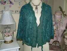 PRETTY ANGEL Boho VINTAGE CHIC GREEN LAYERED LACE BOLERO BLOUSE TOP SHRUG L