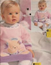 Knitting Pattern Baby Girls Pretty Teddy Bear Jumper Dress and Jumper