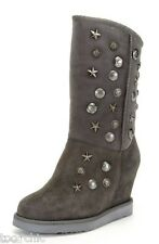 "NIB AUSTRALIA LUXE COLLECTIVE STUDDED SHEARLING FUR 4""WEDGE SHEEPSKIN BOOTS!ash8"