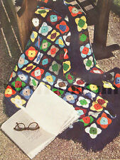 "Vintage Crochet Pattern Afghan/Blanket/Rug. Multi-Colour Granny Square. 38"" Sq."