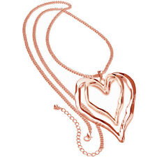Lagenlook rose gold double large heart style pendant long curb chain necklace