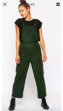 Green Wide Leg Asos Dungarees Overalls Pinafore Wool  10 12 14