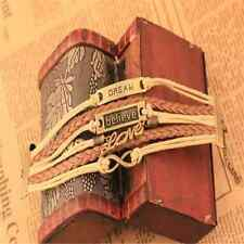 Fashion New Infinity Love Anchor Believe Dream Bronze Leather Bracelet Gift FT74