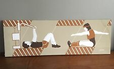 Vintage MARUSHKA Workout Canvas Silkscreen Print 36X12 Sports 70s 80s