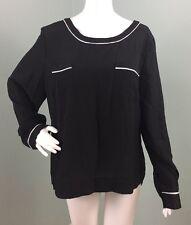 NWT Womens Anne Klein Black L/S Double Pocket Blouse Top Sz XL Extra Large