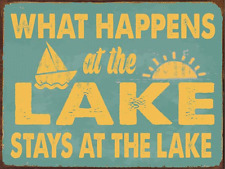 What Happens at the Lake Stays at the Lake Metal Sign, Lake House Décor, Rustic