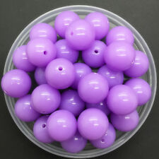 NEW 6mm 100Pcs Acrylic Round Pearl Spacer Loose Beads Jewelry Making LightPurple