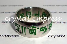 FENG SHUI - SIZE 7 GREEN THICK SACRED MANTRA RING (STAINLESS STEEL)