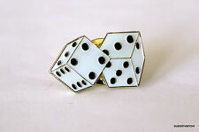 Quality White Dice Rolled Lapel Hat Pin Las Vegas Lucky Gamble Tie Tack