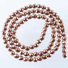 "4mm Ancient Copper Hematite Gemstone Round Faceted Loose Beads 15 1/2"" SG1306"