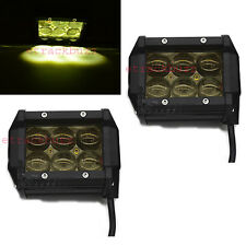 Yellow 18W 6 LED CREE 4D LENS Work/Spot/Off Road Light Car & Bike Fog Lamp