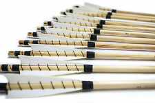 12PK White MEDIEVAL Wooden Arrows Handmade Shaft for Bow Archery Practice New